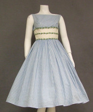 Blue Checked 1950's Party Dress w/ Organdy Waist