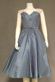 Iridescent Slate Blue 1950's Cocktail Dress w/ Sequined Straps