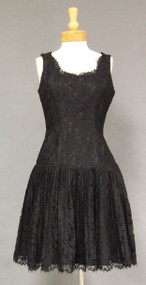 Black Lace 1960's Cocktail Dress w/ Pleated Skirt