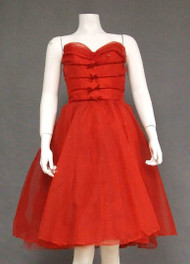 Rhinestone Dotted Red Chiffon Vintage Dress w/ Velvet Trim