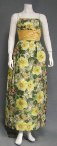 Floral 1960's Evening Dress w/ Satin Waist