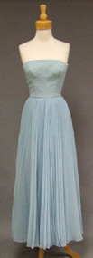 Sky Blue Chiffon 1970's Strapless Evening Dress w/ Accordion Pleated Skirt.
