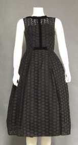 Black Eyelet 1950's Party Dress w/ Velvet Trim