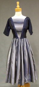 Striped Blue Taffeta 1960's Cocktail Dress