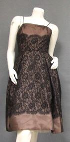 Beautiful Black & Pink Lace & Organdy Cocktail Dress
