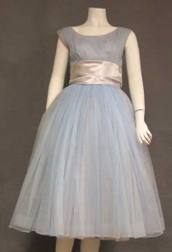 Feminine Pale Blue Chiffon 1950's Party Dress w/ Pleated Bust & Satin Waist