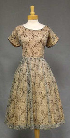 Black & Tan Rose Printed Nylon 1960's Party Dress