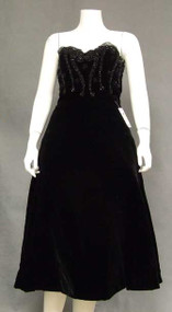 GORGEOUS Harvey Berin Black Velvet 1950's Cocktail Dress w/ Beads & Lace