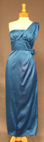 BOMBSHELL Marine Blue Satin 1960's Evening Gown & Wrap