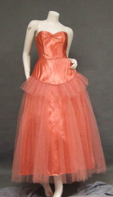 Gorgeous Salmon Satin & Tulle 1950's Prom Dress w/ Bustle & Bolero