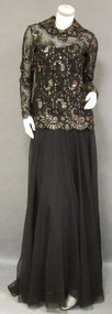 Elegant Sarmi Black Chiffon Evening Gown w/ Gold Embroidered Lace Overblouse