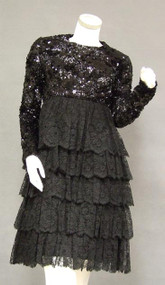 KICKY Tiered Black Lace Sarmi 1960's Cocktail w/ Sequins & Paillettes