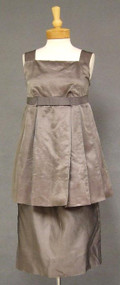 Stylish 1960's MATERNITY Cocktail Ensemble in Grey Organdy