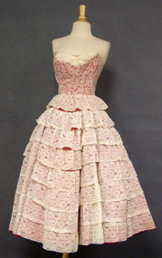 Cream Lace & Cherry Red Taffeta 1950's Sweetheart Prom Dress