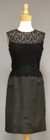 Black Lace & Faille 1960's Cocktail Dress w/ Kelly Green Satin Waist