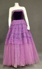OUSTANDING Purple Chiffon, Tulle & Velveteen Vintage Prom Gown