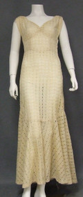 FANTASTIC Eyelet 1930's Evening Gown w/ Trumpet Hem