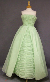 WONDERFUL Green Chiffon 1960's Ball Gown w/ Gathers
