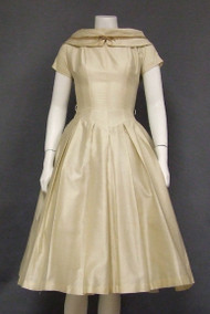 Cream 1950's Party Dress w/ Tan Velvet Trim
