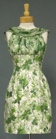 Green Floral Silk 1960's Mini Dress