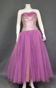 Wild Purple Metallic & Two Toned Tulle Vintage Prom Dress