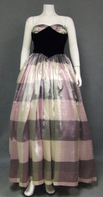 Stunning Purple Plaid & Black Velvet 1950's Evening Gown w/ Wrap