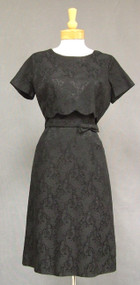 Classic Black Brocade 1960's Cocktail Dress
