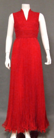 Sophisticated Red Chiffon Vintage Evening Dress w/ Lettuce Edged Hem