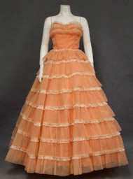 Salmon Nylon & Ivory Lace 1960's Ball Gown