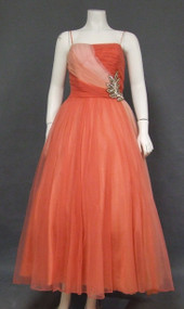 Emma Domb Tri Toned Chiffon Vintage Evening Gown w/ Sequined Flourish