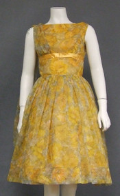 Sunny Chiffon 1960's Party Dress w/ Shoulder Scarf