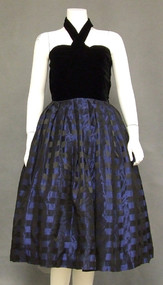 Great Black Velvet & Checked Taffeta 1950's Halter Dress