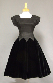 Pin Pleated Taffeta 1950's Cocktail Dress w/ Velvet Skirt