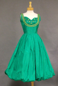 Green Taffeta Balloon Hemmed Cocktail Dress w/ BEES