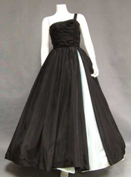 One Shouldered Black Taffeta 1950's Ball Gown w/ Aqua Inset