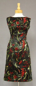 Floral Printed Silk Satin 1960's Cocktail Dress w/ Matching Boxy Jacket