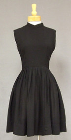 Simple Black Crepe 1960's Dress