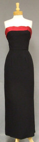 Elegant Black Crepe Vintage Evening Gown w/ Satin Cuff