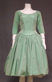 Iridescent Mint Taffeta 1960's Cocktail Dress
