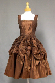 WONDERFUL Copper Taffeta 1950's Cocktail Dress w/ Gathered & Draped Skirt