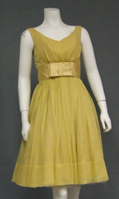 Dusky Yellow Chiffon & Satin 1960's Cocktail Dress