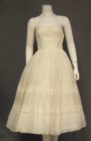 Ivory Organdy 1950's Dress w/ Balloon Sleeved Jacket