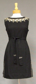 Black Linen 1960's Cocktail Dress w/ Braid Trim