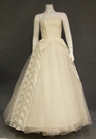 Exquisite Ivory Lace & Tulle Strapless Early 1960's Wedding Gown