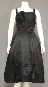 Chic Black Silk Satin 1950's Cocktail Dress
