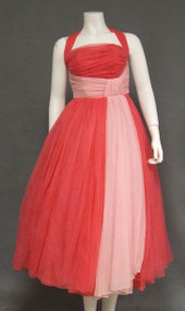 Striking Two Toned Pink Chiffon 1950's Halter Dress