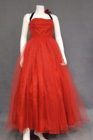 Red Tulle & Black Velvet 1950's Halter Prom Dress