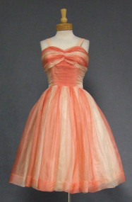 Wonderful Salmon Ombre Organdy 1950's Cocktail Dress