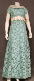 Aqua & White 1960's Sarmi Sample Evening Gown w/ Patent Belt