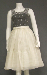 Charcoal & Ivory Organdy Rappi Cocktail Dress